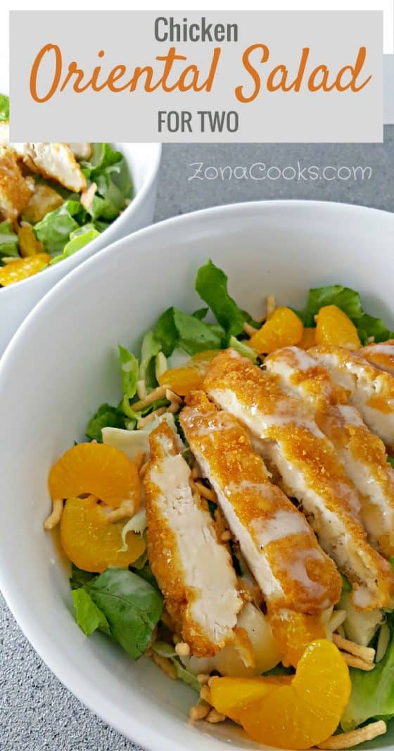 chicken oriental salad in a bowl and a text box at the top saying chicken oriental salad for two