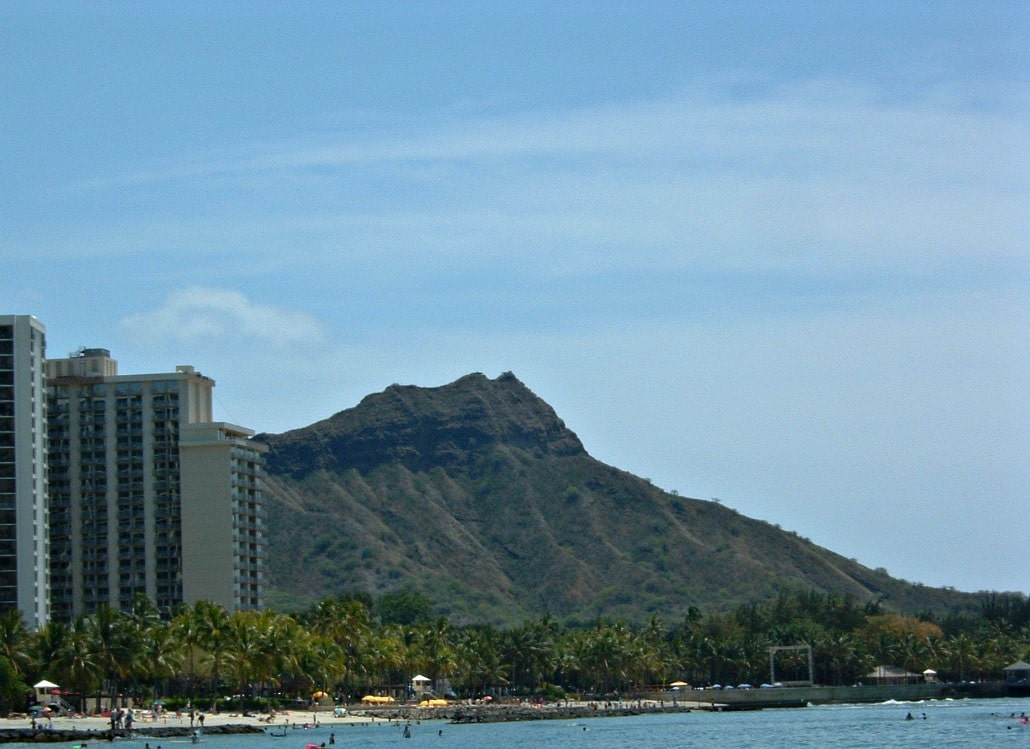 Diamond Head crater and a bit of Waikiki beach