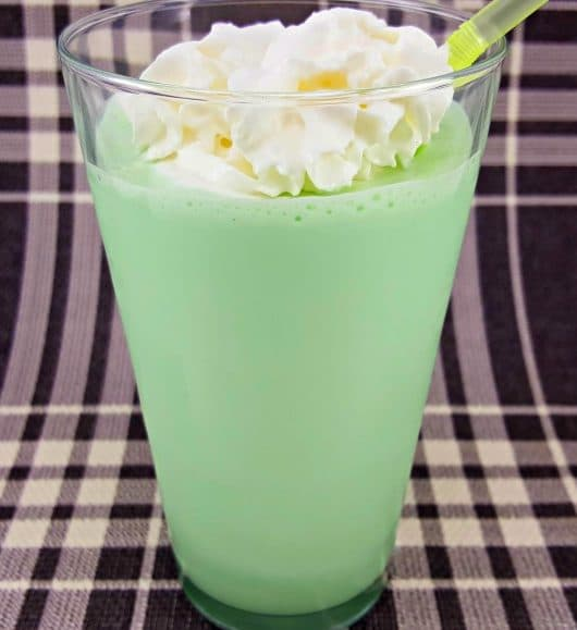 Shamrock Shake in a glass with a straw