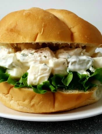 Swiss Cheese Chicken Salad Sandwich on a plate