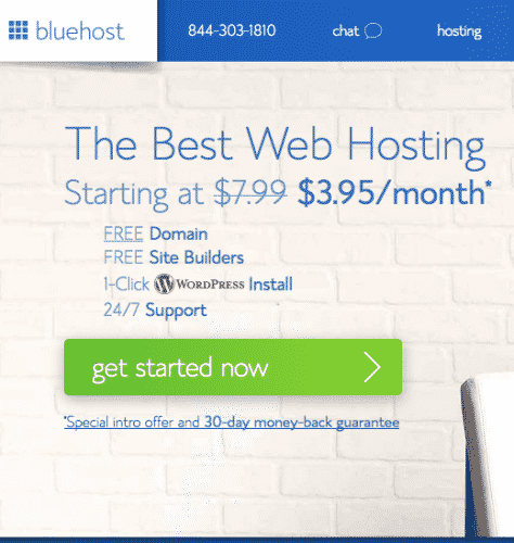 a graphic showing web hosting with a price and get started now button