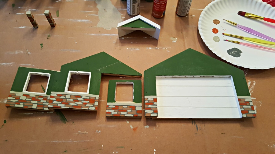 painting the front of the diy bird feeder