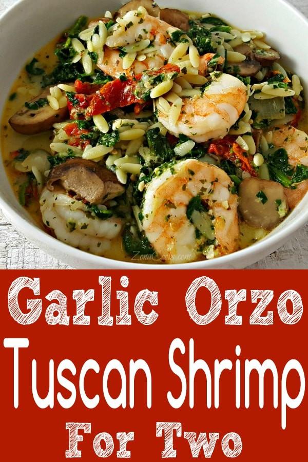 Garlic Orzo Tuscan Shrimp for Two