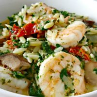 Garlic Orzo Tuscan Shrimp Recipe for Two