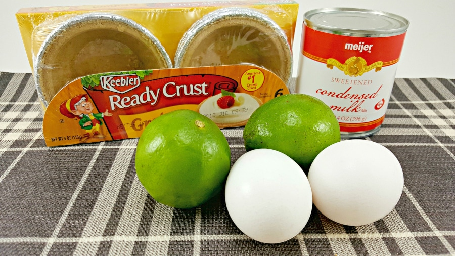 package of ready crust, two limes, two eggs, can of sweetened condensed milk