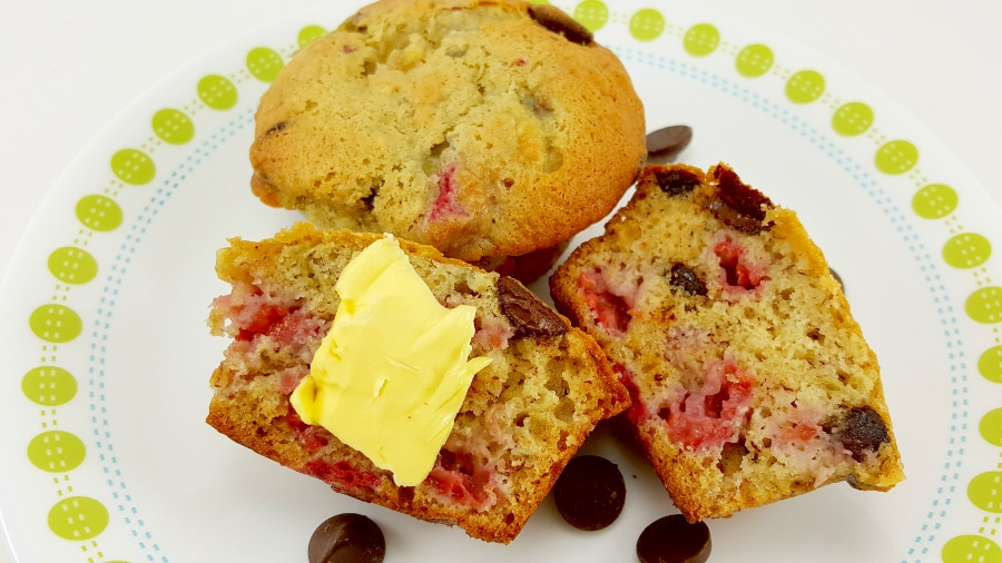 Raspberry Dark Chocolate Chip Banana Bread Muffins - perfect for breakfast, dessert, snacks or dinner