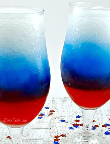 Red, White and Blue Rum Slush for Two - cool and refreshing drink for two