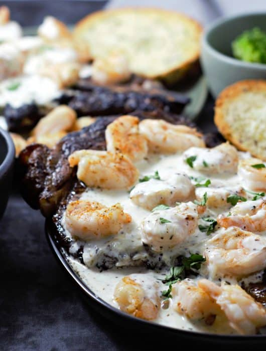 Ribeye Steak and Shrimp with Parmesan Sauce for Two - perfect romantic date night dinner