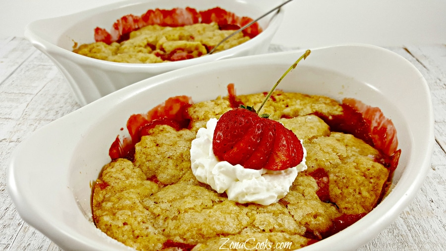 Strawberry Cobbler for Two - delicious romantic dessert