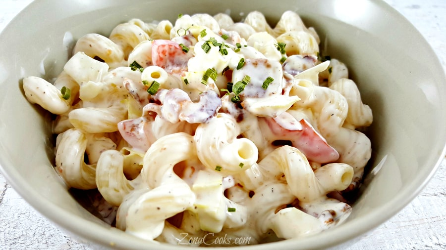BLT Macaroni Salad for Two - delicious side dish