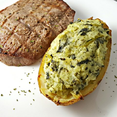 Cheesy Spinach Twice Baked Potatoes Recipe for Two - serves 2