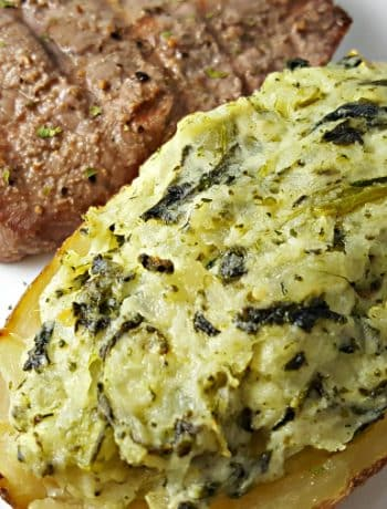 Cheesy Spinach Twice Baked Potatoes Recipe for Two with crispy skin.