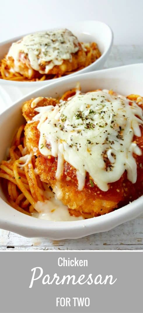 Easy Chicken Parmesan for Two. Hello, Friday date night! I'm a big proponent of the at-home date night. You can spend a ridiculous amount of time on the first bottle of wine while leisurely cooking for each other. I love to divide and conquer the chopping of vegetables or the steps of a recipe.