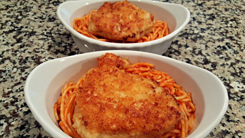 Chicken Parmesan Recipe for Two - top with chicken