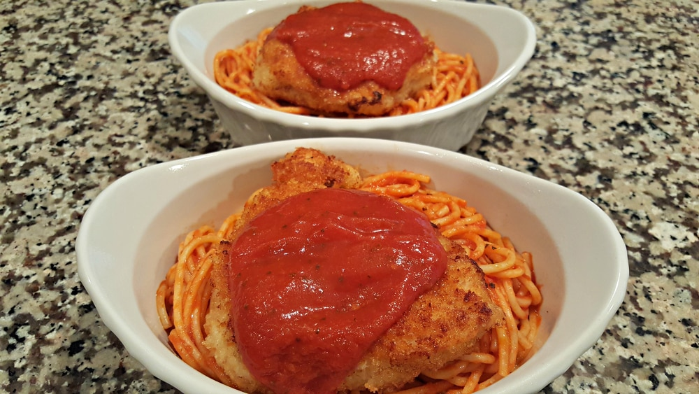 Chicken Parmesan Recipe for Two - top with spaghetti sauce