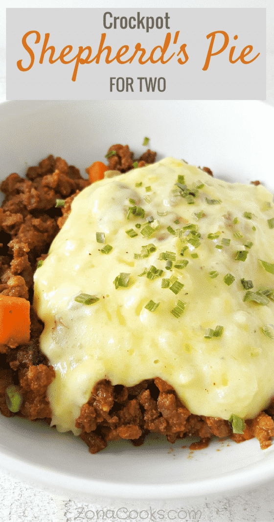 a graphic with text saying crockpot shepherd's pie for two and a bowl filled with shepherd's pie topped with mashed potatoes