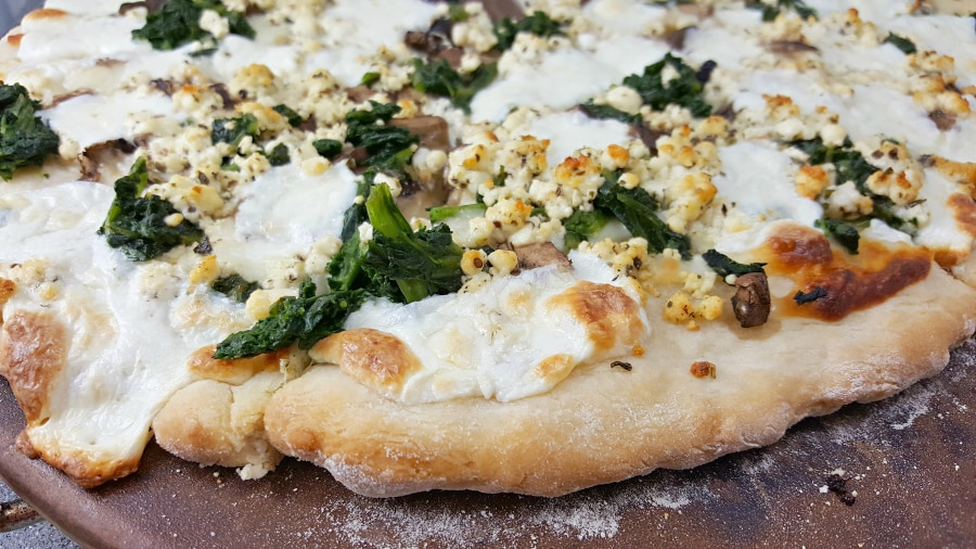 Goat Cheese Pizza with 10 minute dough - spinach and mushrooms, yum!