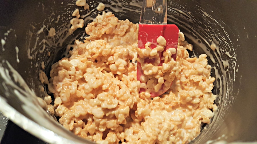 Rice Krispie Cereal mixed with marshmallow mixture