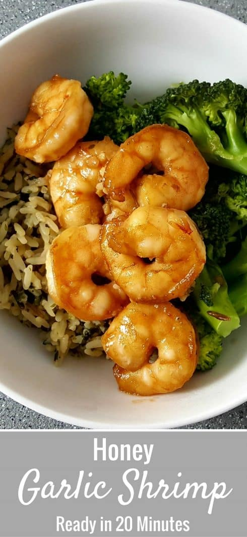 a graphic with a bowl of rice, honey garlic shrimp, and broccoli and text box saying honey garlic shrimp ready in 20 minutes