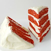Red Velvet Cake and Whipped Cream Cheese Frosting for Two - small batch