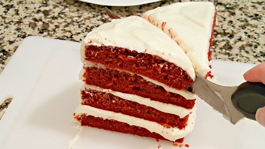 Red Velvet Cake and Whipped Cream Cheese Frosting for Two - add last slice and cut in half