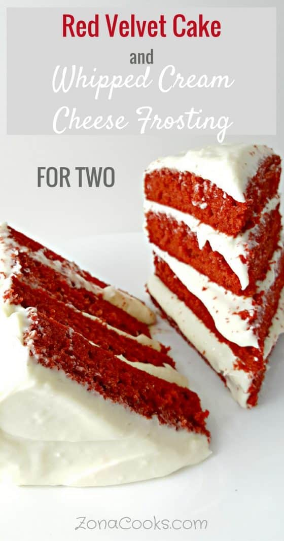 a graphic with text saying Red Velvet Cake and Whipped Cream Cheese Frosting for Two and two large slices of red velvet cake on a plate