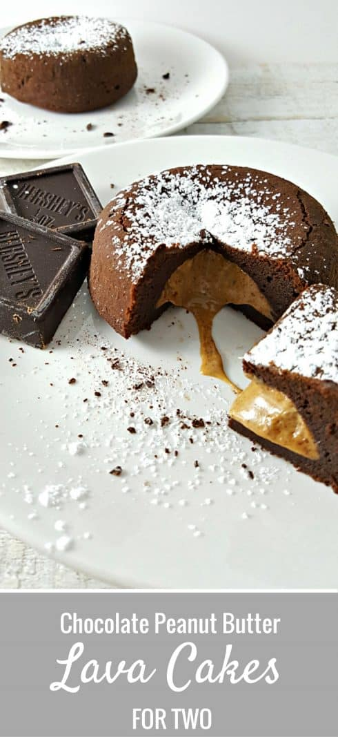 Chocolate Peanut Butter Lava Cakes for Two #DessertForTwo #dessert #LavaCakes #RecipesForTwo #PeanutButter
