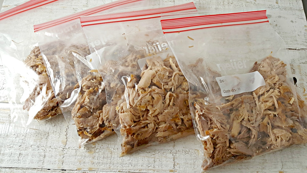 pulled pork inside four zipper freezer bags
