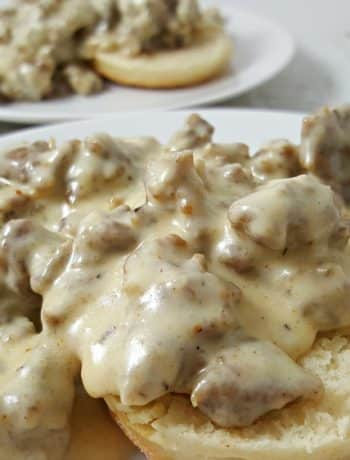 Easy Sausage Gravy and Homemade Biscuits Recipe for Two - perfect breakfast or dinner!