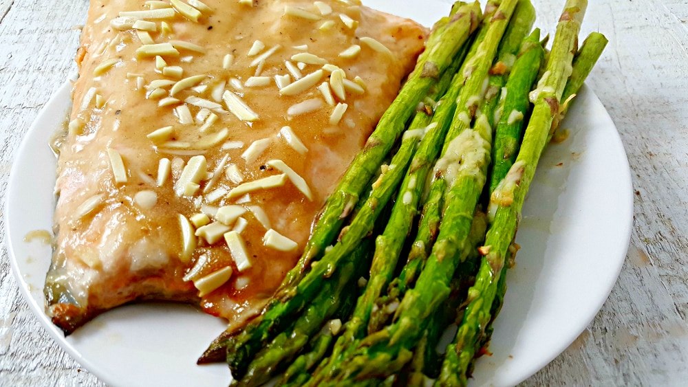 Honey Dijon Almond Salmon and Asparagus