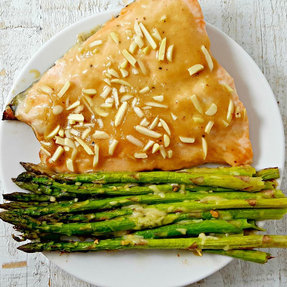 Honey Dijon Almond Salmon and Asparagus Recipe - serves 2