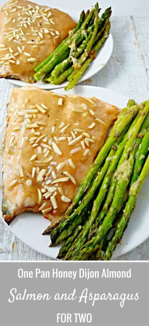 Honey Dijon Almond Salmon and Asparagus Recipe for two  #salmon #seafood #asparagus #DinnerForTwo #LunchForTwo #RecipesForTwo