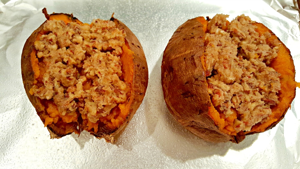 two sweet potatoes filled with streusel topping