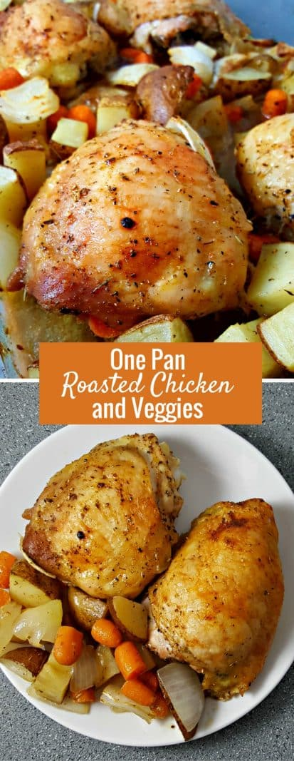One Pan Roasted Chicken and Veggies for Two  #OnePan #OnePot #RoastedChickenAndVeggies #chicken #DinnerForTwo #LunchForTwo #RecipesForTwo