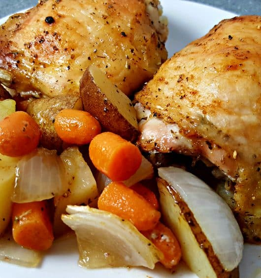One Pan Roasted Chicken and Veggies - easy and delicious dinner for two