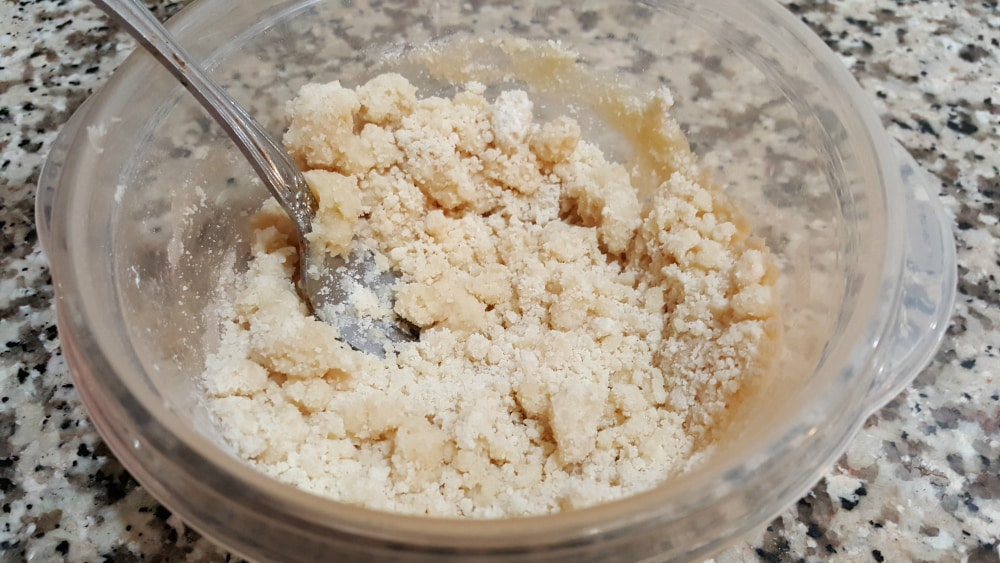 Pumpkin Pie for two recipe small batch - mix flour, salt and butter until crumbly