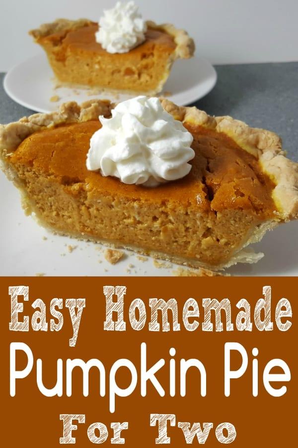 Pumpkin Pie for two recipe small batch