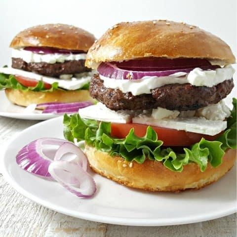 Greek Feta Burger Recipe - serves 2