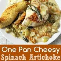 One Pan Cheesy Spinach Artichoke Chicken Pasta Recipe for Two