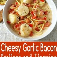 Cheesy Garlic Bacon Scallops and Linguine Recipe for Two