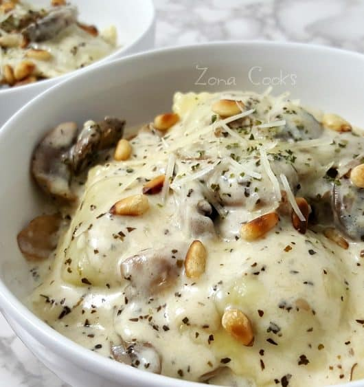 Mushroom Parmesan Ravioli Recipe - small batch makes a delicious meal for two