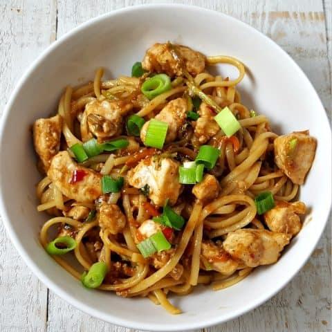 Thai Chicken Peanut Linguine Recipe - serves 2
