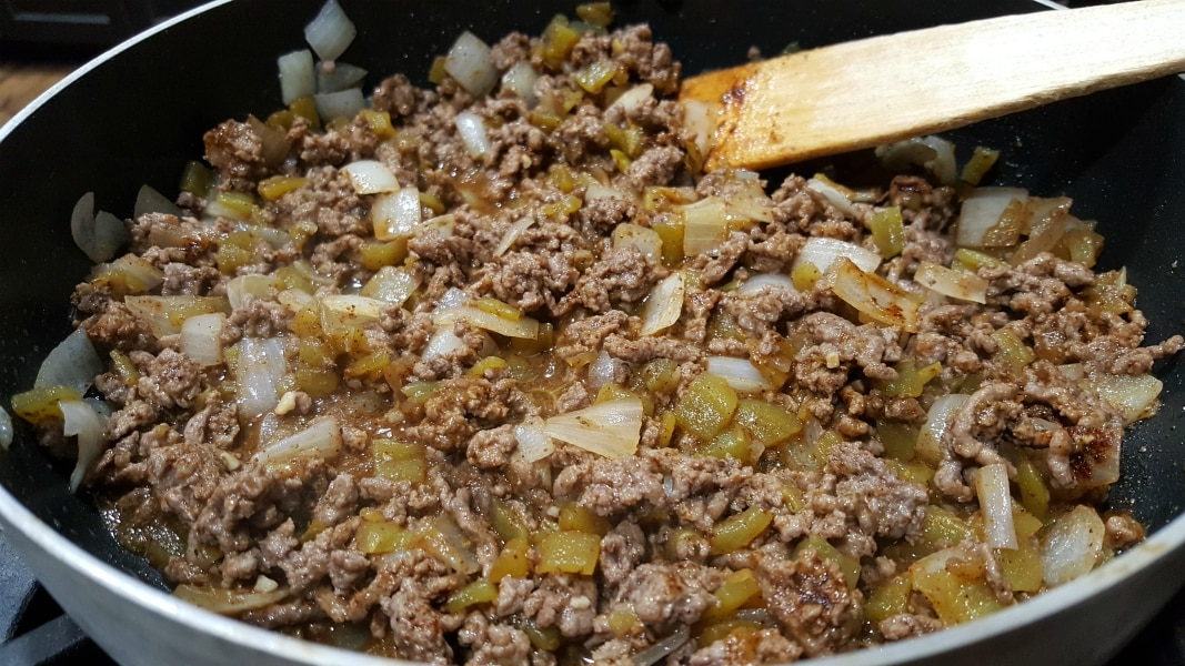 ground beef with onion, garlic, green chiles, and seasonings