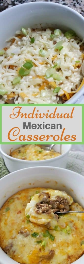 Individual Mexican Casseroles for Two #recipesfortwo #dinnerfortwo #lunchfortwo #mexican #casserole #easyrecipes #groundbeef