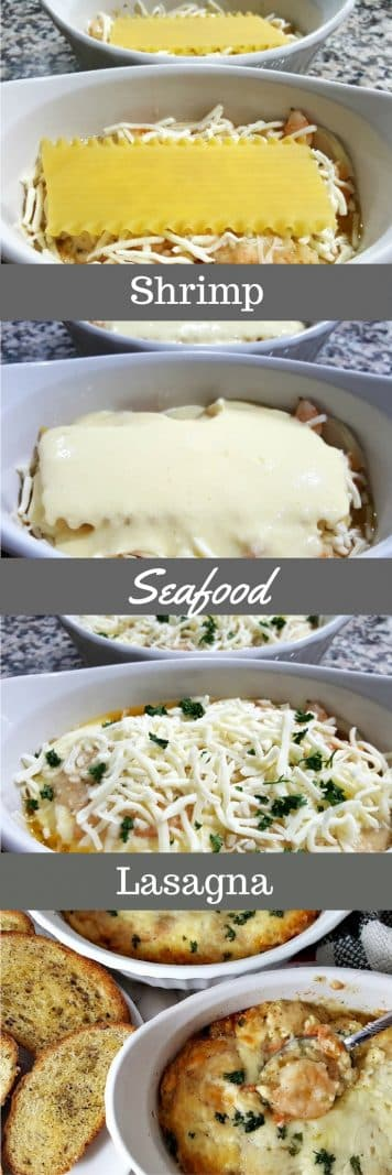 Shrimp Seafood Lasagna is a delicious, creamy and filling pasta dish packed with shrimp, Parmesan, ricotta and mozzarella cheese. This recipe is downsized, easy, and perfectly portioned for two people. Hands down, shrimp is one of my most favorite foods and this decadent lasagna does not disappoint! We served it with a couple pieces of garlic and butter toasted artisan bread. #seafood #lasagna #SeafoodLasagna #recipesfortwo #dinnerfortwo #cookingfortwo #shrimp