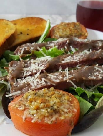 Strip Steak Salad with Parmesan Broiled Tomatoes Recipe for Two - romantic date night dinner