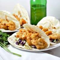 Beer Battered Shrimp Tacos with Fire Roasted Tortilla Shells