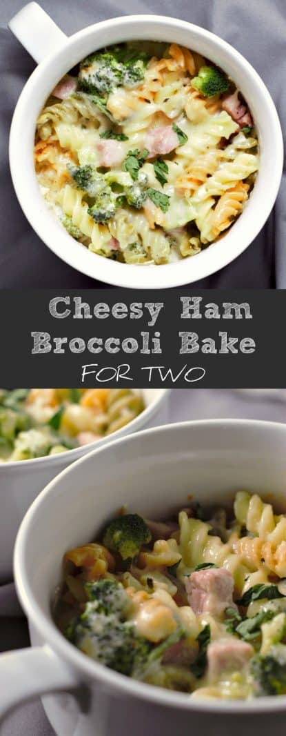 a graphic with a top down view of cheesy ham broccoli casserole on top, a text box in the middle saying cheesy ham broccoli bake for two, on the bottom is a close up of the casserole in two dishes