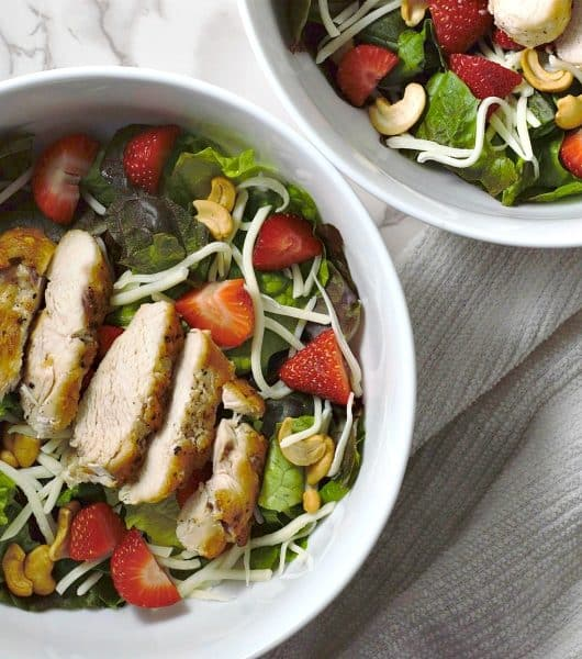 Chicken Strawberry Salad and Poppy Seed Dressing Recipe for Two - great lunch or dinner!