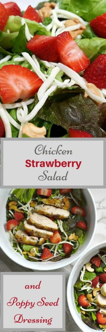 Chicken Strawberry Salad and Poppy Seed Dressing for Two #salad #RivieraSalad #DinnerForTwo #LunchForTwo #RecipesForTwo #chicken #strawberries